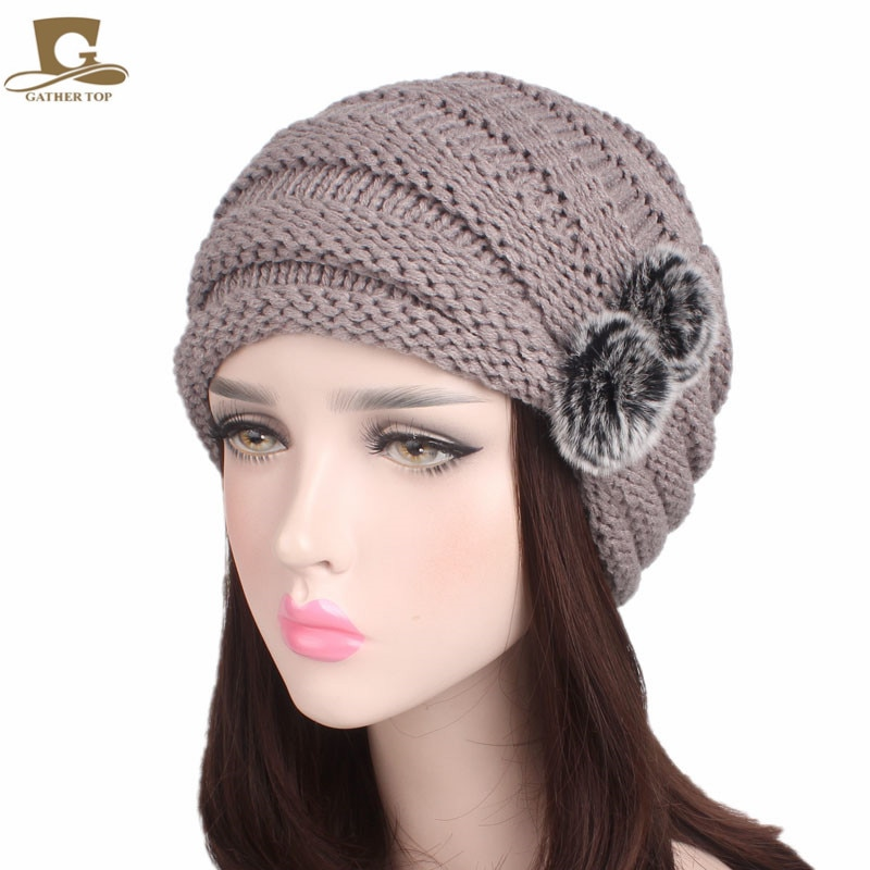 New fashion women slouchy beanie ski baggy hat knitted skull cap with double rabbit fur bulb winter