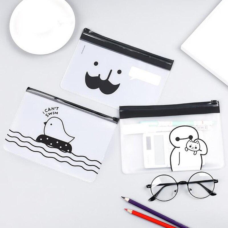 5pcs /lot Cute Cartoon 5 patterns Matte Waterproof  Pencil Bags Transparent Pencil Case Storage Organizer Bag Stationery