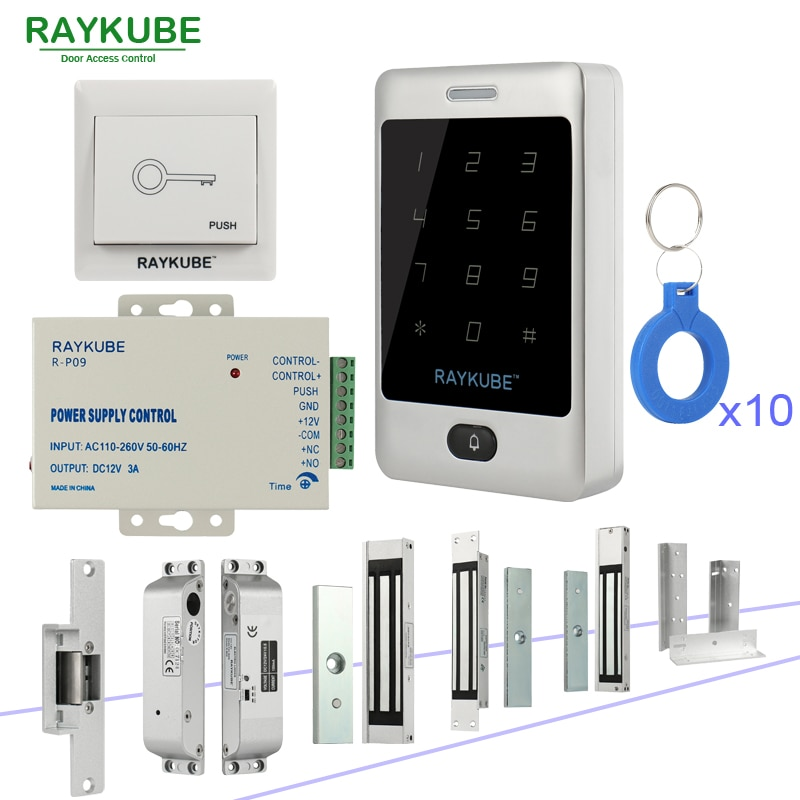 Raykube porta kit de controle acesso sistema com metal teclado toque rfid chaves fechaduras eletrônico kit conjunto