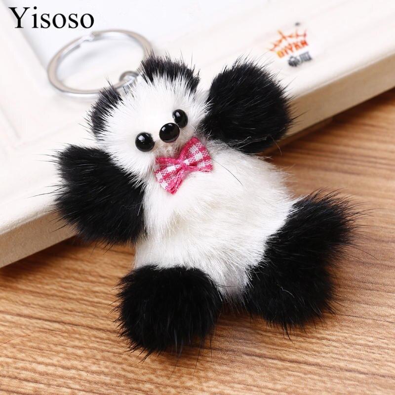 Yisoso llaveros de piel de visón Real pompón coche Keychian Oso de felpa esponjoso Animal Panda llavero anillos para teléfono bolsa encantos colgantes Juguetes