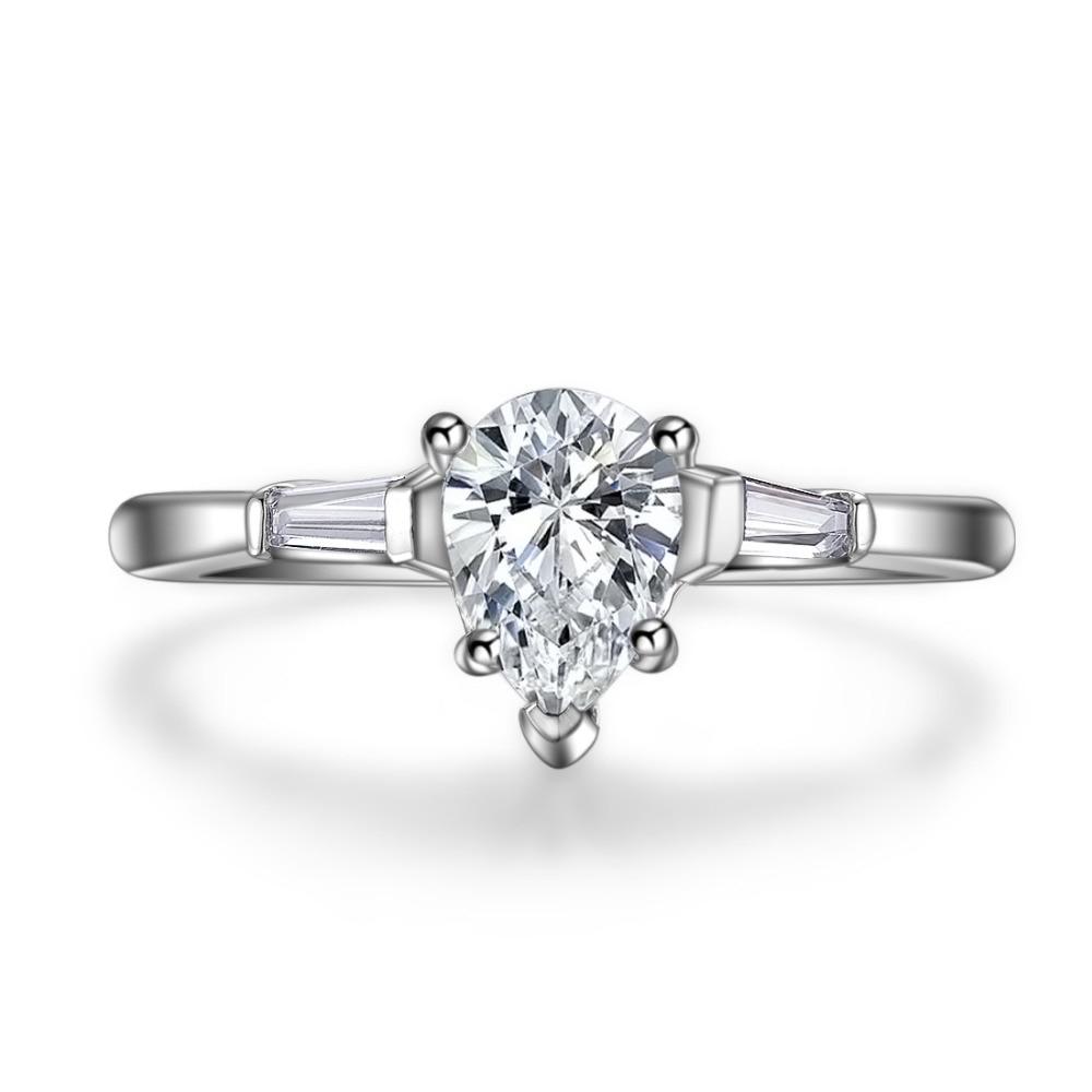 Diamante de corte de pera de 1,41 quilates para mujeres S925 anillo de boda de joyería de plata de ley estampada