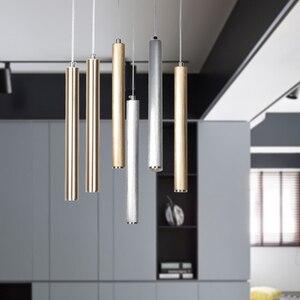 Art Salon Led cylinder pendant light Aluminum pipe hanging lamp for dining room master bedroom 3W led strip pendant Lamp fixture