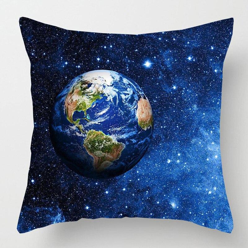 Funda de cojín con diseño de galaxia planetas, sistema Solar espacial, tierra, Luna, Pluto, funda de almohada decorativa de lino para el hogar, funda de almohada para sofá