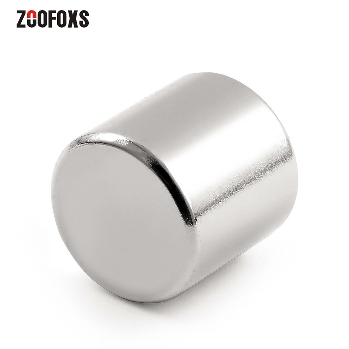 Zoofoxs 1pc 20x20m n35 redondo cilindro ímã de neodímio terra rara super forte 20x20mm ímãs permanentes 20*20mm