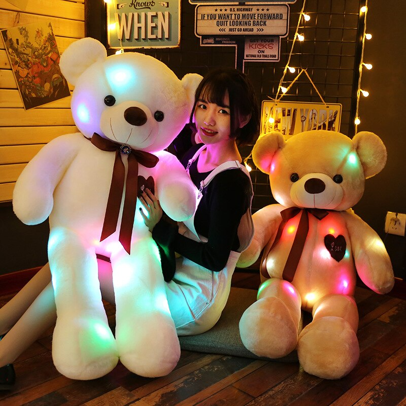 90/70cm Big Size Creative Light Up LED Teddy Bear Stuffed Animals Plush Toys Colorful Glowing Teddy Bear Birthday Gift for Kids