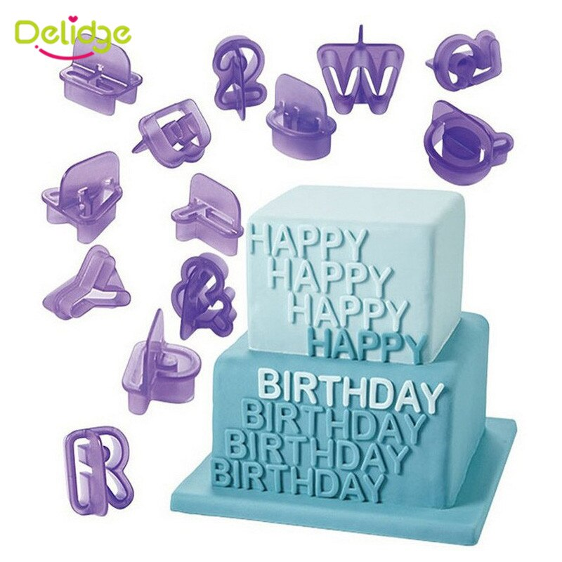 Delidge 40pcs/set English Letters Cookie Cutter 3D Alphabet Number Fondant Cake Biscuit Baking Mould DIY Cake Decorating Tools