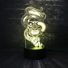 New Fierce Snake Wrapped Skull 3D LED USB Lamp Rock Style 7 Colors Changing Flash Atmosphere Night Light Desk Table Decor LAVA