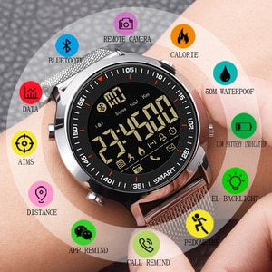 Smart Watch Men Business Waterproof Running Pedometer Bluetooth Sports Watch LED Remote Camera Men Wristwatch for IOS Android