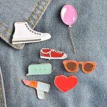2019 New Cartoon enamel brooch heart balloon lipstick glasses canvas shoes metal drip brooch denim jack collar pin jewelry gifts