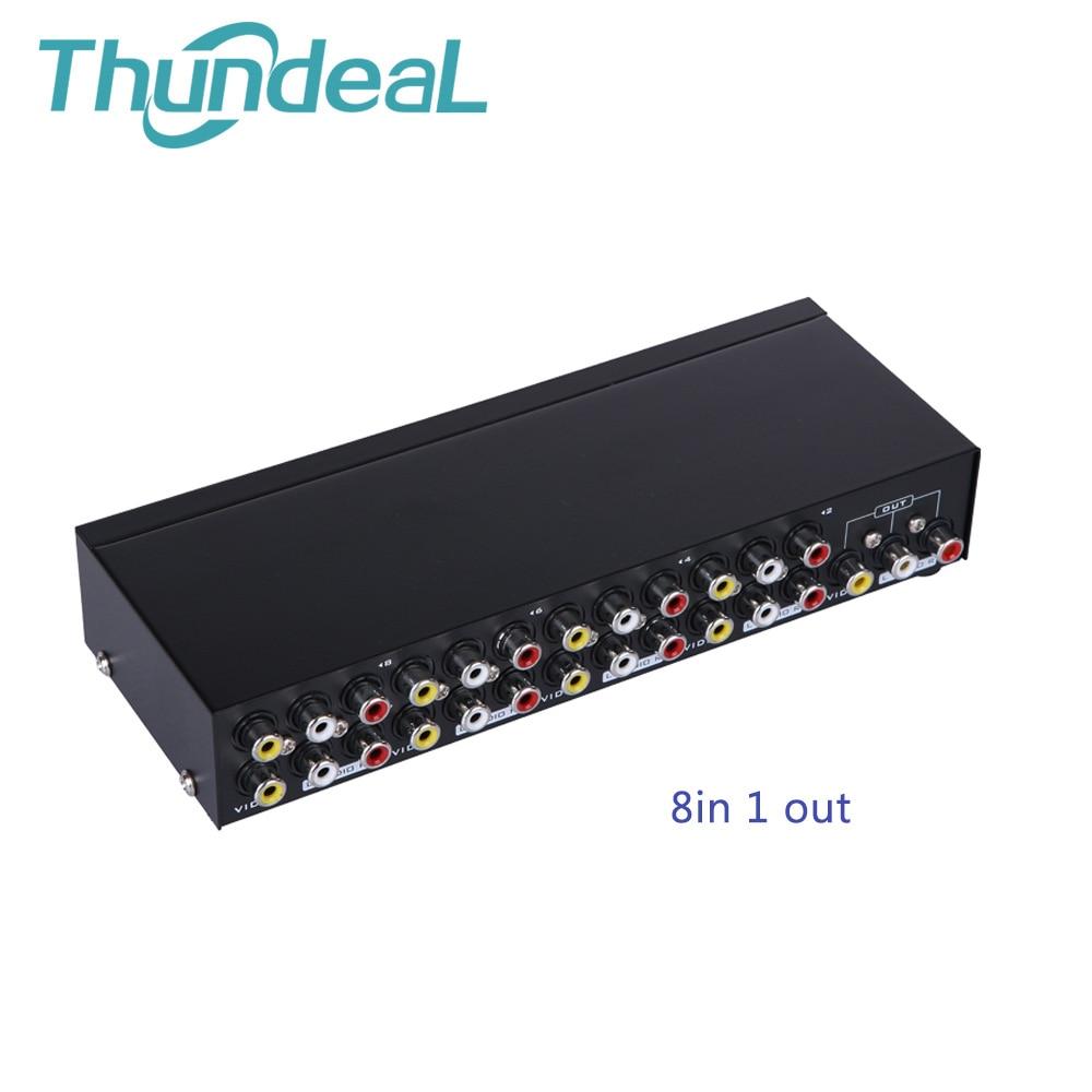 Caja de interruptores AV Thundeal 4 en 1 salida AV Audio Video señal compuesta para HDTV LCD DVD 3 RCA AV conmutador 8to1 Selector no divisor