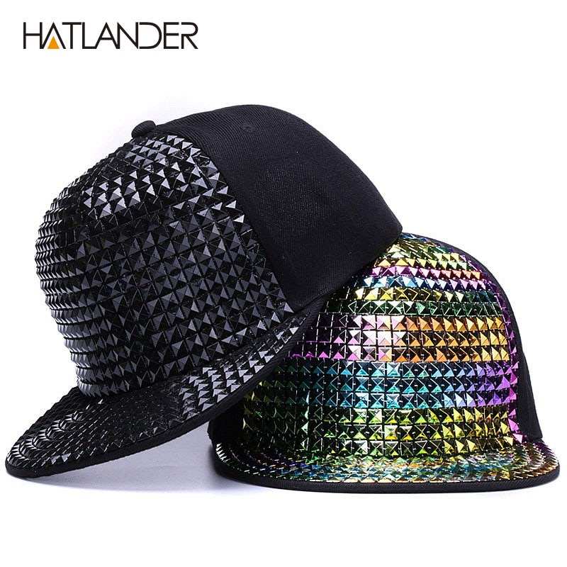 [Hatlander] personalidade lantejoulas bonés de beisebol borda plana chapéus ao ar livre meninas menino bling punk snapback boné jazz rock legal hip hop boné