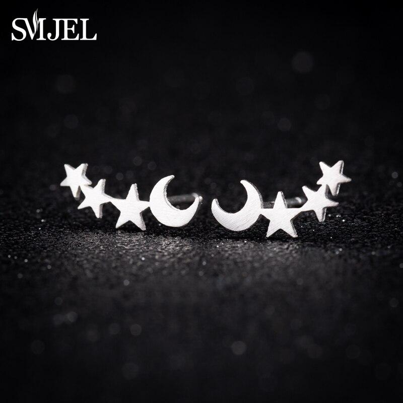 Pendientes de trepador de orejas de luna y estrella SMJEL, pendientes de tuerca con forma de pequeña estrella entrelazada para mujeres, pendientes para adolescentes, regalo de cumpleaños, joyas
