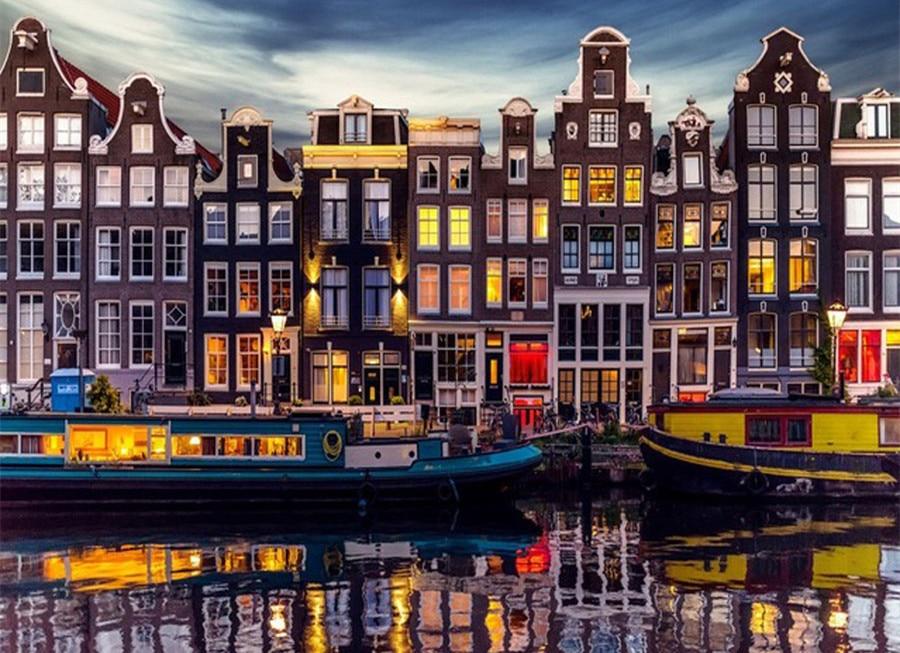 3d diy cuadro de diamantes pinturas Amsterdam paisaje Natural punto de cruz bordado completamente mosaico con diseño de diamantes