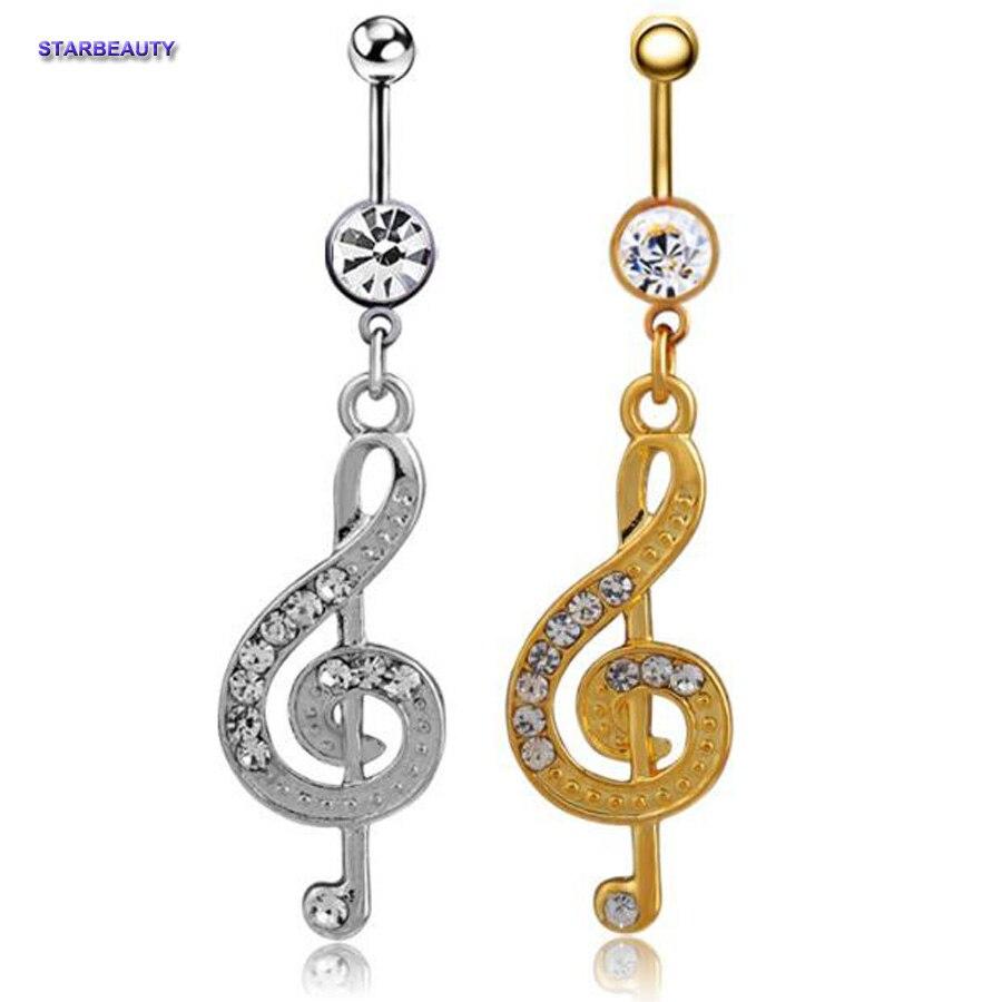 Música nota Ombligo Piercing Nombril mujeres, cristal Ombligo anillos Piercing cuerpo Ombligo anillo, Ombligo PiercingS