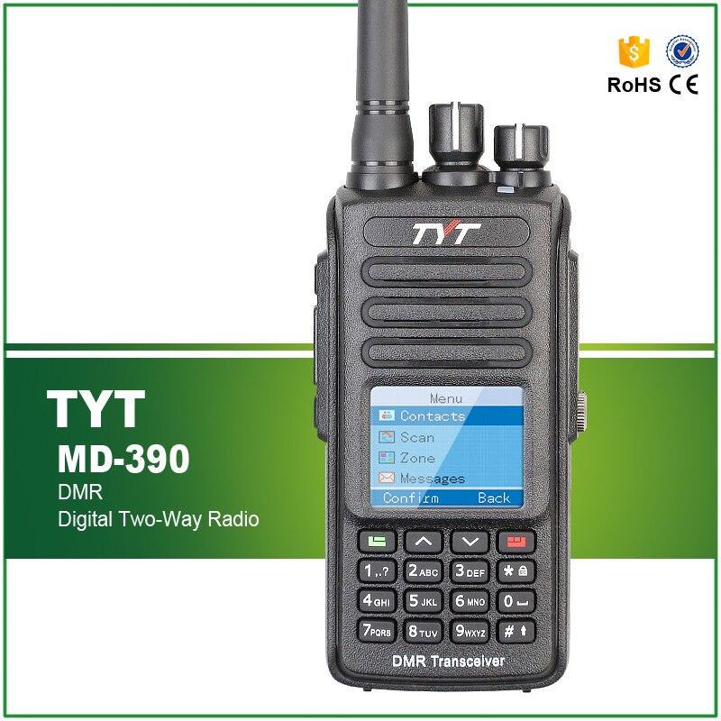 Novo original tyt md390 MD-390 dmr digital rádio em dois sentidos/walkie talkie uhf 400-480mhz de longa distância com cabo livre e fone de ouvido