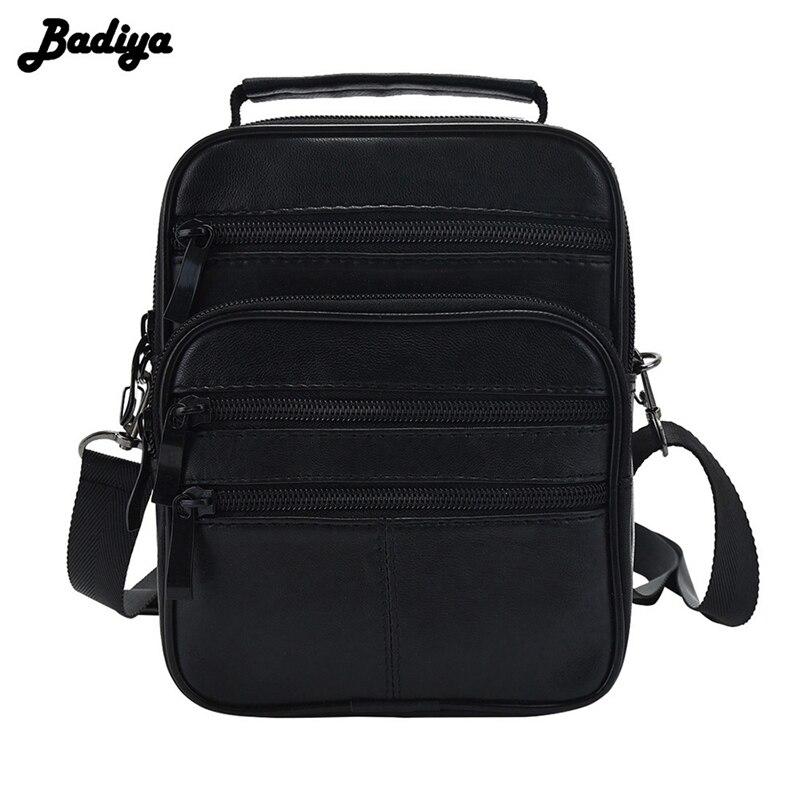 Bolsos de mensajero de cuero genuino para hombre, bolso cruzado de un solo hombro, Bolso Negro, bolsas portátiles multifuncionales, Bolsa masculina