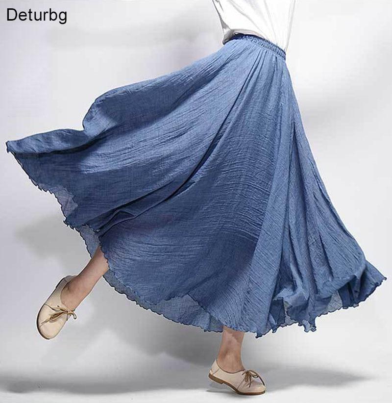 Women's Elegant High Waist Linen Maxi Skirt 2018 Summer Ladies Casual Elastic Waist 2 Layers Skirts saia feminina 20 Colors SK53