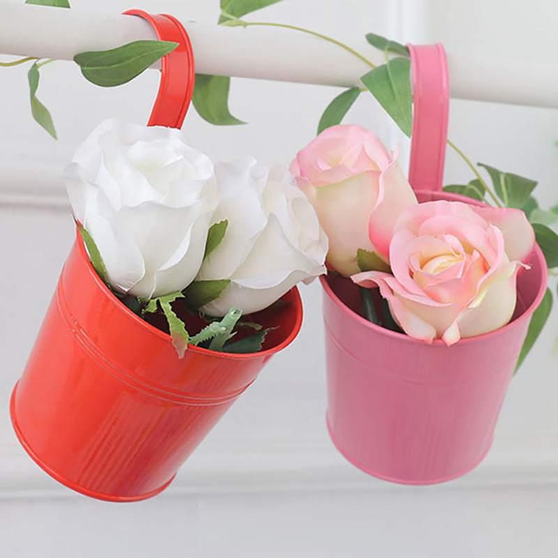 Flower Bucket Hanging Bucket Garden Candy Color Small Decorative Iron Bucket
