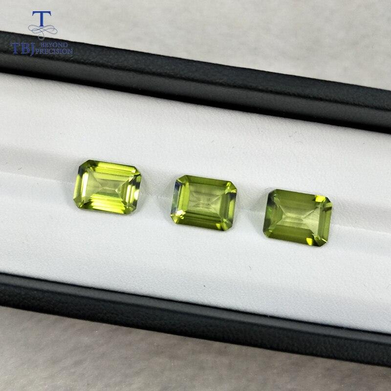 Tbj, topaze vert olive naturelle oct8 * 10 ard 3.6ct pour le montage de bijoux en argent sterling ou en or 925, belles pierres précieuses en vrac naturelles