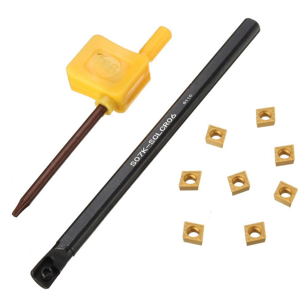10 Uds S07K-SCLCR06 soporte de barra de perforación + inserto CCMT0602 + herramienta de torneado de torno de llave