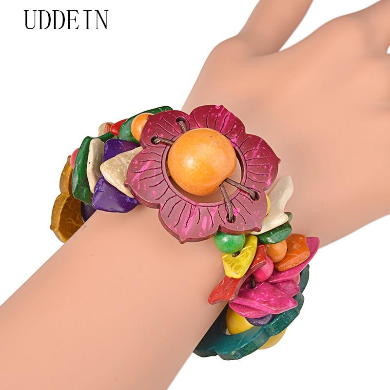 UDDEIN Flower Wood Bracelet For Women Bohemian Multi Layer Bib Beads Jewelry Charm Bulk One Direction Strand Bracelets & Bangles