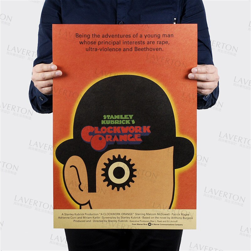 Un reloj naranja/película clásica película/papel kraft/café/bar poster/Retro Poster/pintura decorativa 51x35,5 cm alta calidad