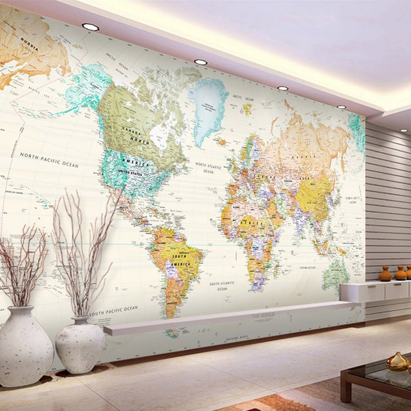 Фотообои на заказ, любой размер, 3D стерео карта мира, обои для гостиной, офиса, учебы, интерьера, Декор