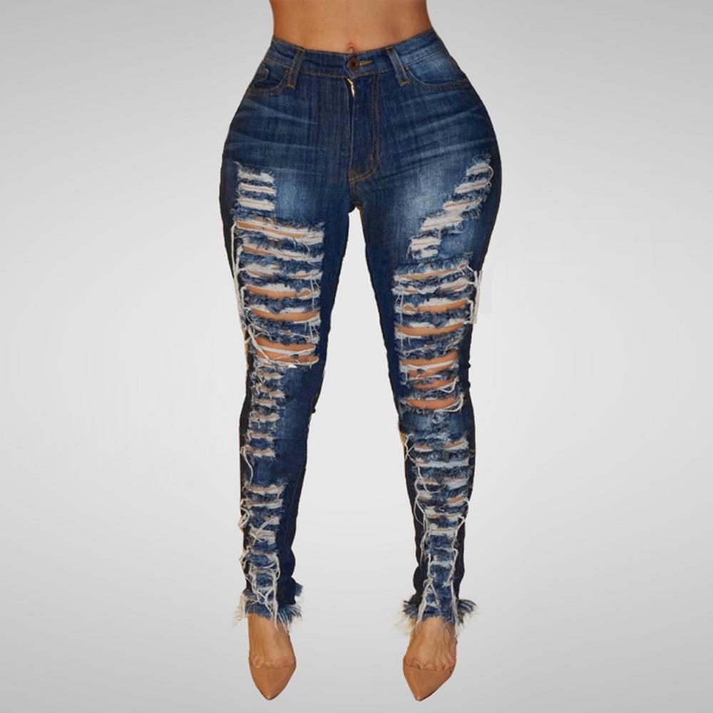 Jeans Women Hole Slim Pants Women High Waist Hole Ripped Denim Jeans Casual Shinny Pencil Pants Trousers Plus Size 6.14