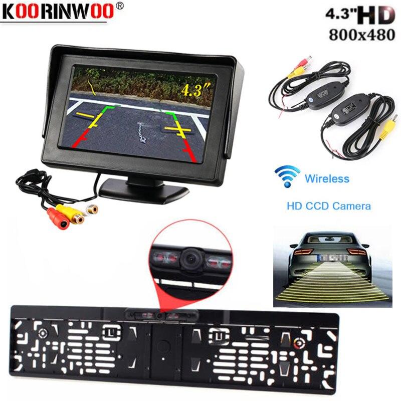Koorinwoo, asistencia 2,4G, inalámbrico, marco de matrícula de coche europeo, cámara de visión trasera, Monitor de pantalla de estacionamiento de respaldo inverso
