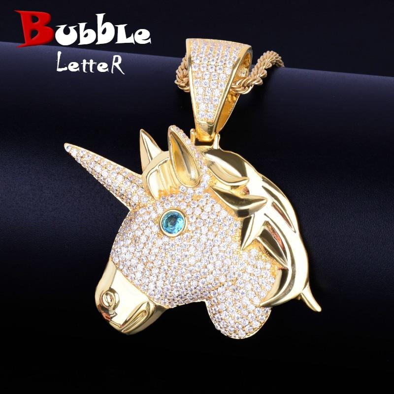 Collares y colgantes dorados con cabeza de caballo de Animal, cadena de cuerda gratis, circonita cúbica AAA para hombres, joyería de Hip Hop para regalo
