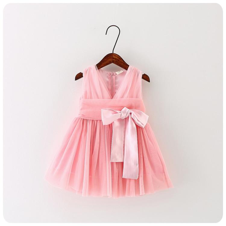 Korean Children's Garment 16 Summer Wear New Pattern Girl Baby Bow Yarn Dress Girl Full Dress V Lead Princess