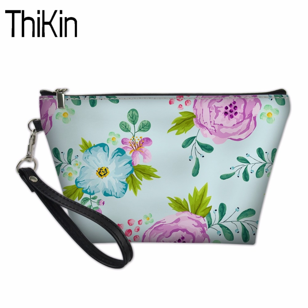 Bolsa de maquillaje THIKIN, bolsa de cosméticos para niñas, estuche organizador de viaje, neceseres femeninos para mujeres, bolsa de maquillaje Floral, producto en oferta