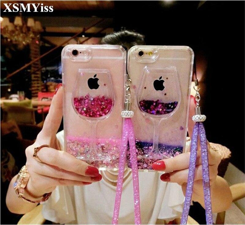 XSMYiss 3D vino de vidrio líquido arenas movedizas teléfono funda para Samsung S6 S7 S8 S9 S10 más S10 Lite Note5 8 9 arenas movedizas de la caja del teléfono