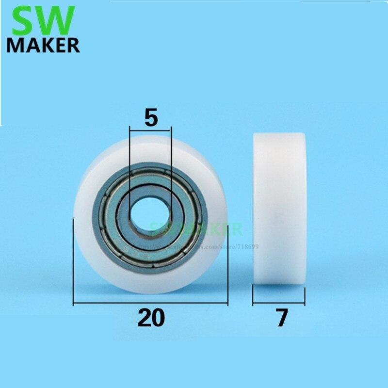 1 Uds 5*20*7mm tipo F rodamiento polea plano inserto de rueda pequeña POM polea para puerta y ventana