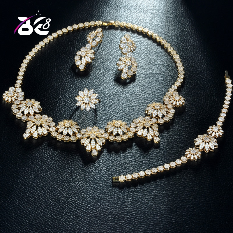 Be 8 Sparkling Cubic Zircon Flower Shape Gold Color 4pcs Set Luxury Wedding Jewelry Bridal Big Sets for Women Party Gifts S277