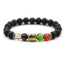 Mode Gold Farbe Eule Naturstein Kopf Buddha strang Armband Femme Ethnische handgemachte Perlen Armbänder Männer Schmuck Pulseras Geschenk