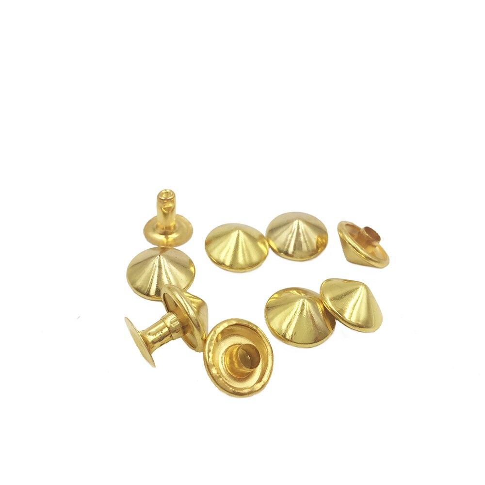1000sets 10mm wholesale Golden Metal Cone Rapid Rivets Studs Spots Nailhead Spikes Bracelet Clothes Garment Rivets clothing Bag