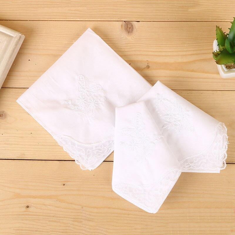 12 Uds 28cm * 28cm Ms de algodón pequeño pañuelo bordado pañuelo de encaje