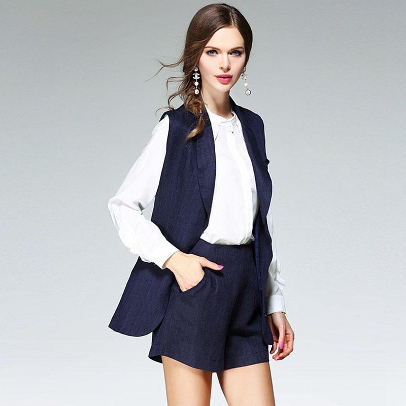95% Linen Suits Women Two Pieces Set Turn-down Collar Vest Pokets Shorts 2 Colors High Quality Suits Ladies Fashion 2017 Newest