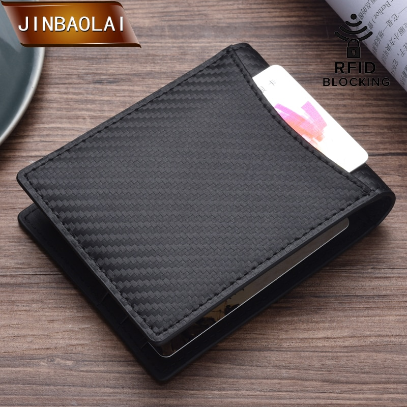 JINBAOLAI Slim Wallet with Money Clip Men RFID Blocking Mini Bifold Men ID Credit Card Genuine Leather Money Wallet Clip
