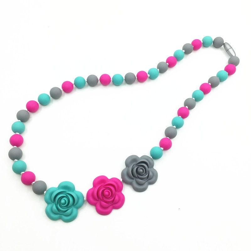 Silicone Teething Necklace free shipping-BPA Free Silicone Teether Toys -baby flower beads teether-s