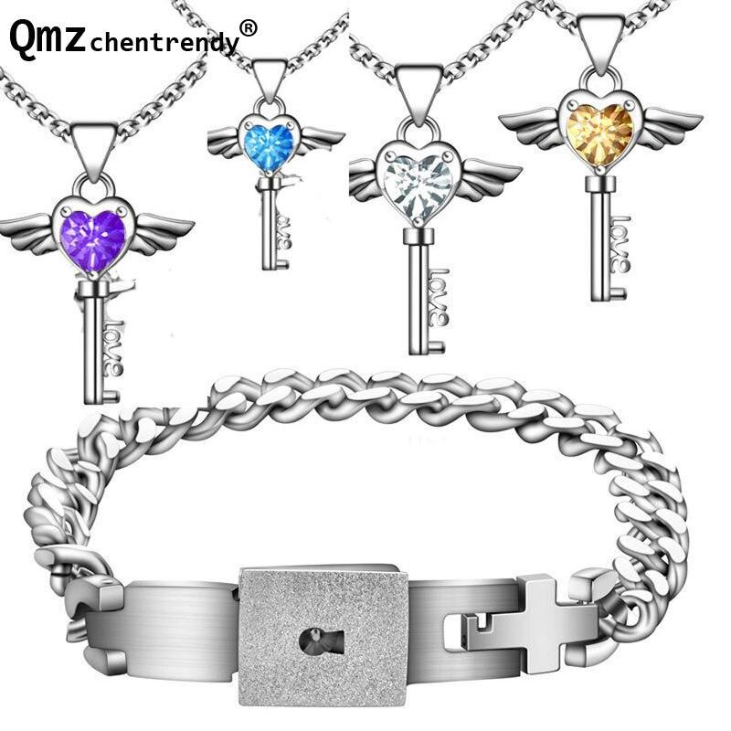 Браслет с замком из титановой стали, браслет с синим и фиолетовым углом, ожерелье с подвеской и подвеской в виде ключа, комплект ювелирных из...