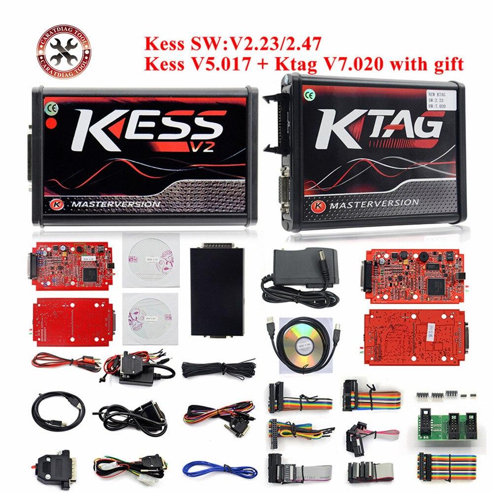 Full Version KESS V2 V5.017 EU Red V2.47/V2.23 ECM Titanium KTAG V7.020 4 LED Online Master Version ECU OBD2 Programmer