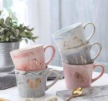 Handgemalte Gold Monogramm Natürliche Marmor Porzellan Kaffee Becher Mr und Mrs Tee Milch Tassen und Becher Kreative Hochzeit Geschenk