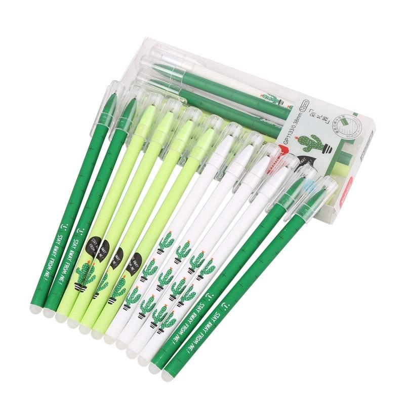 6 uds Cactus fresco Oficina pluma borrable lindo Kawaii 0,38mm firma bolígrafos para la escuela suministros, Accesorios de escritorio, regalos