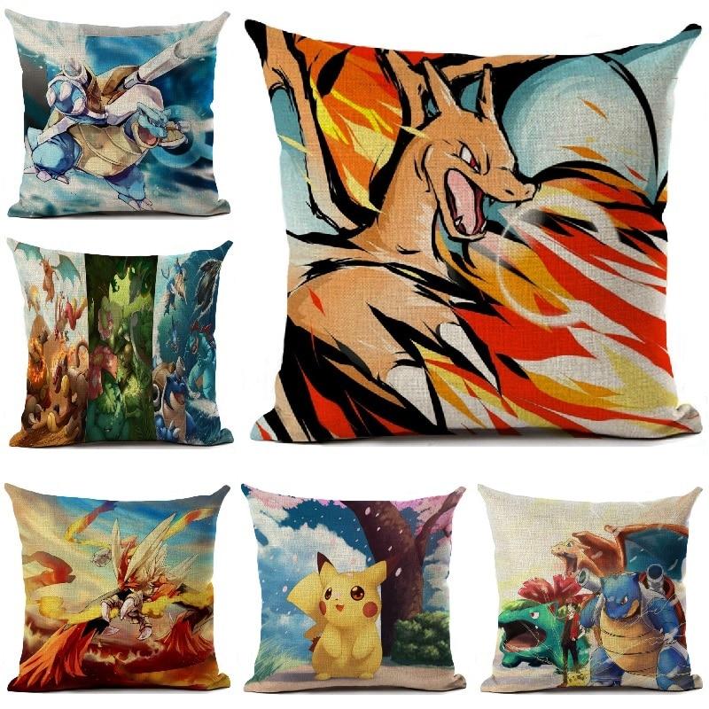 Наволочка для подушки Pokemon, льняная наволочка с мультяшным принтом, автомобильные диванные подушки, домашнее украшение аниме, наволочка 45*45 ...