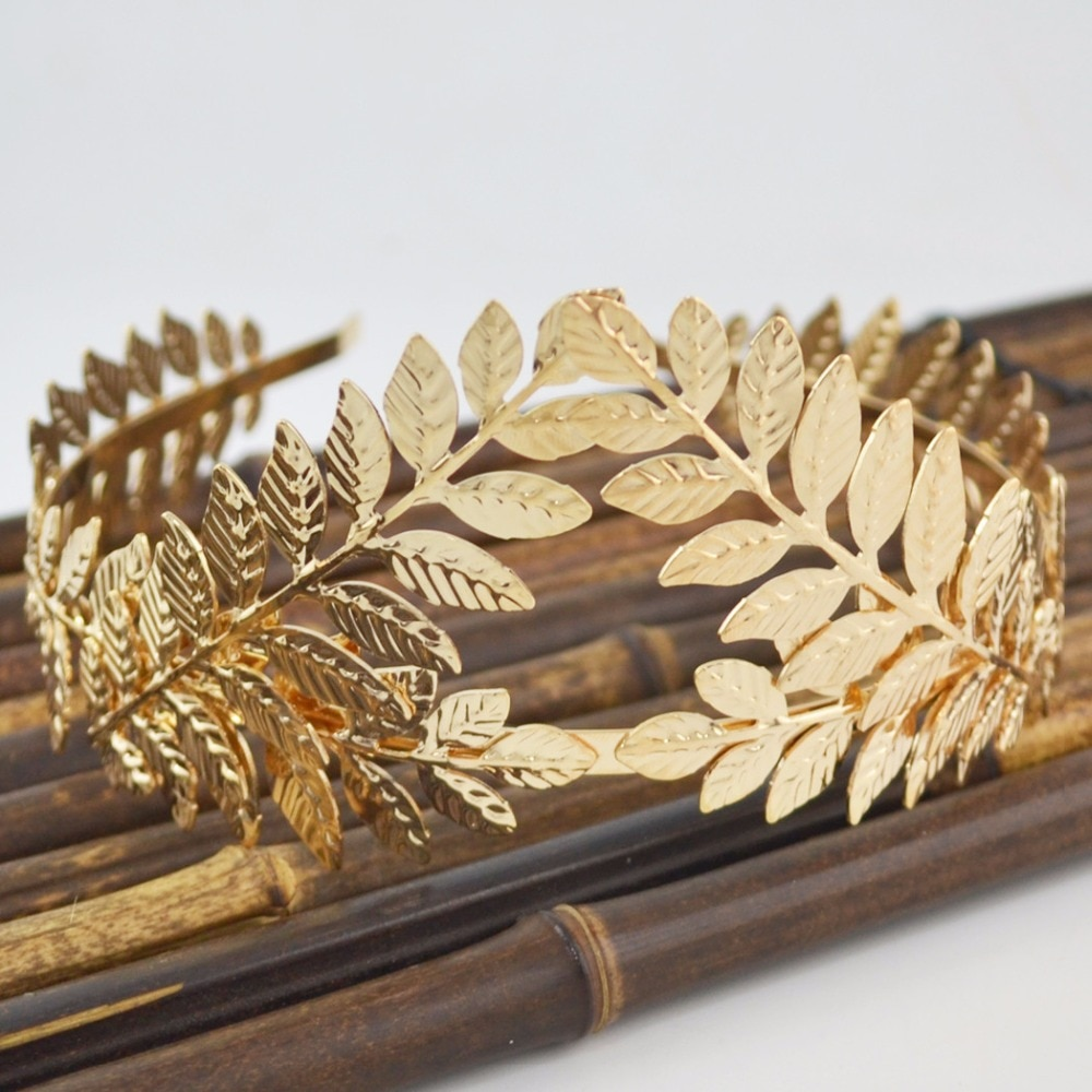 Diosa romana hoja delicado vestido de cabeza corona de pelo Tiara de novia Boho color dorado novia boda peine accesorios de joyería