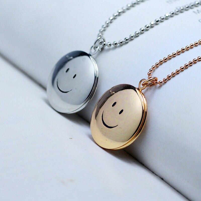 ¡Moda 2018! collar con colgante de sonrisa redonda de Color dorado, collar con medallón de temperamento que se puede abrir con personalidad, joyería para mujer