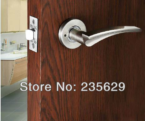 Free Shipping, Bathroom/ Washroom/ Toilet Door Lock, brushed nickel Finished, Zinc Alloy Handle, Brass cylinder, No key