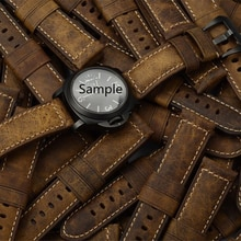 MERJUST 22mm 24mm Italy Brown Crazy Horse Genuine Leather Watchband Wristband For PAM PAM111 PAM441
